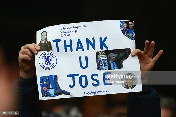 Chelsea fan holds a banner to appreciate Jose Mourinho during the Barclays Premier League match between Chelsea and Sunderland at Stamford Bridge on...