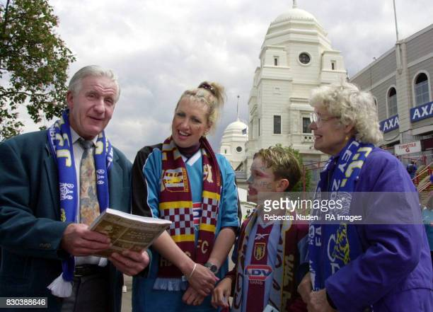 Chelsea fan Ronald Symes aged 66 who came to his first Cup Final in 1955 is pictured with Aston Villa fan Jan Bartlett from Oxford and her son...