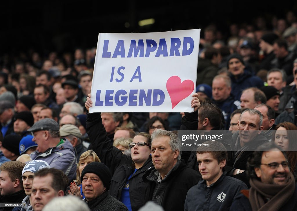 A Chelsea fan shows her support for Frank Lampard with a banner during the Barclays Premier League match between Chelsea and West Ham United at Stamford Bridge on March 17, 2013 in London, England.
