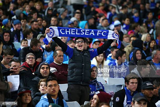 Chelsea fan supports during the international friendly match between Sydney FC and Chelsea FC at ANZ Stadium on June 2 2015 in Sydney Australia