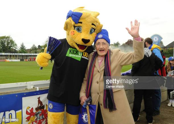 Chelsea fan with Bridget before the FA WSL 1 match between Chelsea Ladies and Yeovil Town Ladies at Wheatsheaf Park on April 30 2017 in Staines...