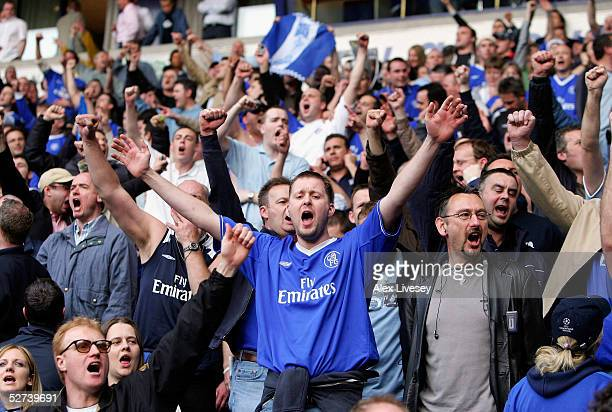 Chelsea fans celebrate their team winning the Premiership after victory over Bolton Wanderers in the Barclays Premiership match between Bolton...