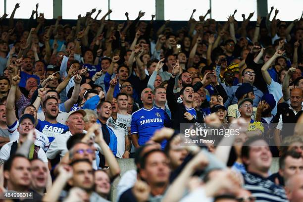 Chelsea fans cheer during the Barclays Premier League match between West Bromwich Albion and Chelsea at The Hawthorns on August 23 2015 in West...