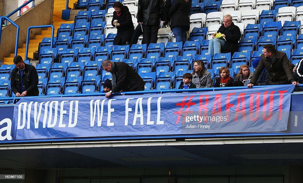 Chelsea fans display a banner as they protest against Rafael Benitez, interim manager of Chelsea prior to the Barclays Premier League match between Chelsea and West Bromwich Albion at Stamford Bridge on March 2, 2013 in London, England.