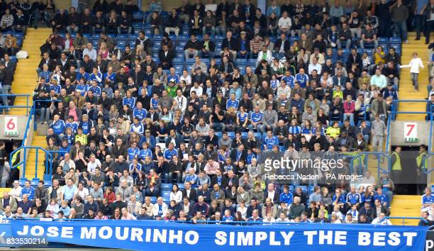 Chelsea fans display a banner in honour of their former manager Jose Mourinho
