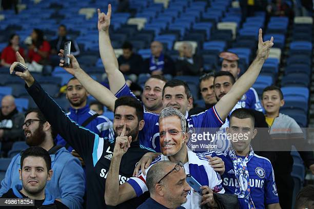Chelsea fans enjoy the pre match atmospohere during the UEFA Champions League Group G match between Maccabi TelAviv FC and Chelsea FC at Sammy Ofer...