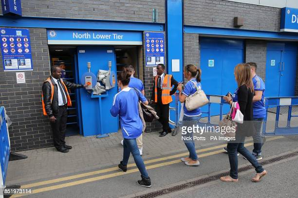 Chelsea fans gain access to the match via the new automatic ticket scanning and access system