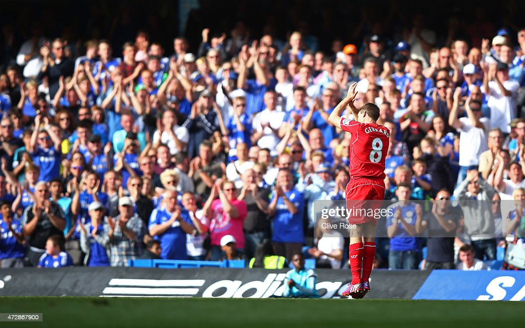 Chelsea fans give a standing ovation to <a gi-track='captionPersonalityLinkClicked' href=/galleries/search?phrase=Steven+Gerrard&family=editorial&specificpeople=202052 ng-click='$event.stopPropagation()'>Steven Gerrard</a> of Liverpool as he leaves the pitch at Stamford Bridge for the final time during the Barclays Premier League match between Chelsea and Liverpool at Stamford Bridge on May 10, 2015 in London, England.