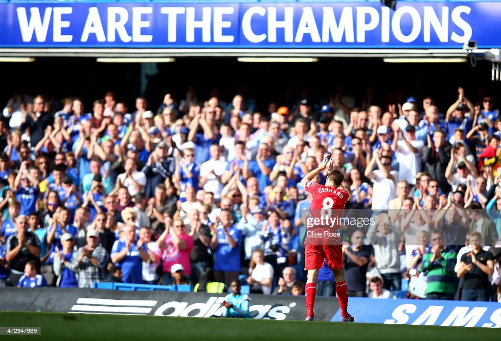 Chelsea fans give a standing ovation to Steven Gerrard of Liverpool as he leaves the pitch at Stamford Bridge for the final time during the Barclays...