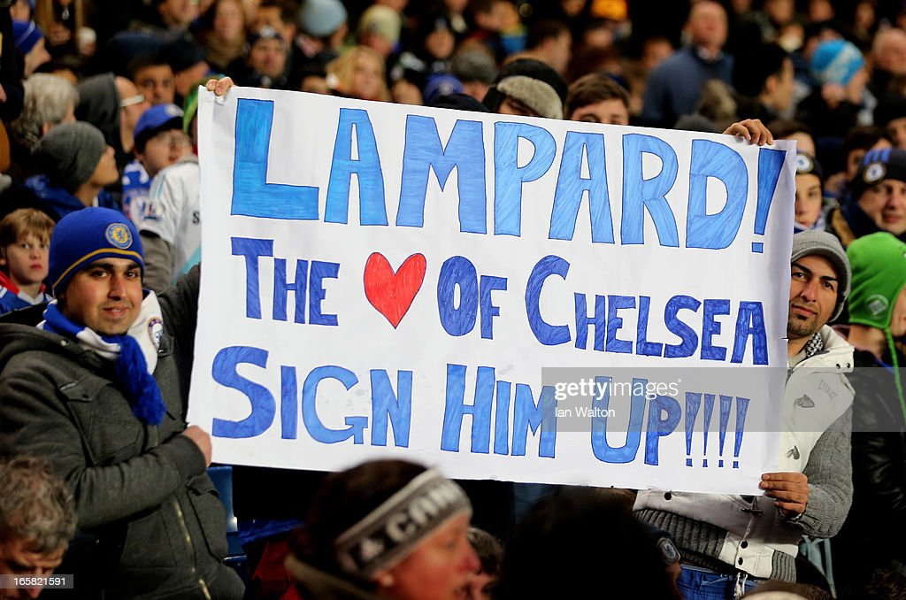 Chelsea fans hold up a banner pleading for the club to offer Frank Lampard a new contract during the UEFA Europa League quarter final first leg match between Chelsea and FC Rubin Kazan at Stamford Bridge on April 4, 2013 in London, England.