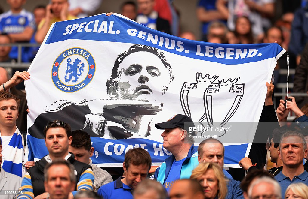 Chelsea fans hold up a banner prior to the FA Cup with Budweiser Semi Final match between Chelsea and Manchester City at Wembley Stadium on April 14, 2013 in London, England.