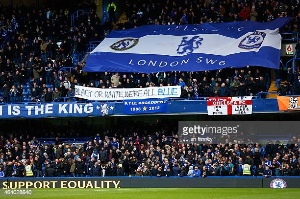 Chelsea fans hold up an Anti Racism banner prior to kickoff during the Barclays Premier League match between Chelsea and Burnley at Stamford Bridge...