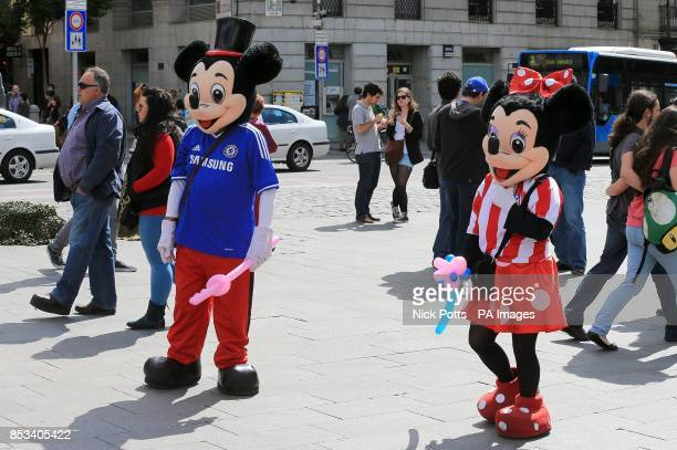 Chelsea fans in fancy dress before the game