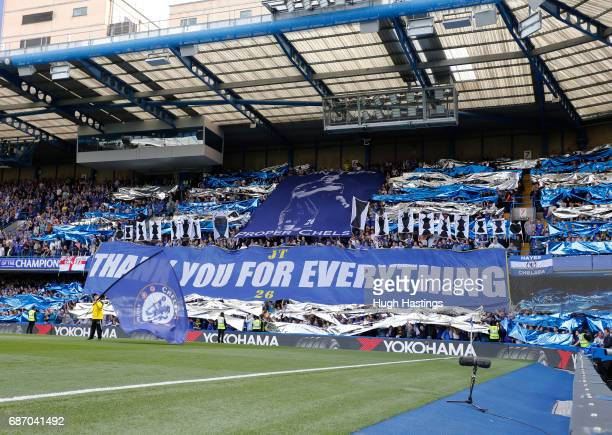 Chelsea fans show their appreciation for John Terry before the Premier League match between Chelsea and Sunderland at Stamford Bridge on May 21 2017...