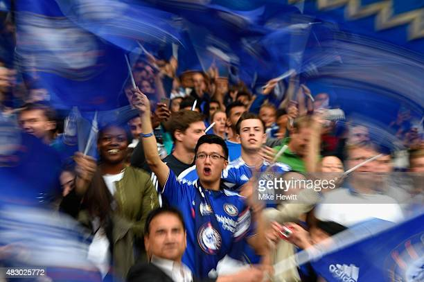 Chelsea fans show their support during a Pre Season Friendly between Chelsea and Fiorentina at Stamford Bridge on August 5 2015 in London England
