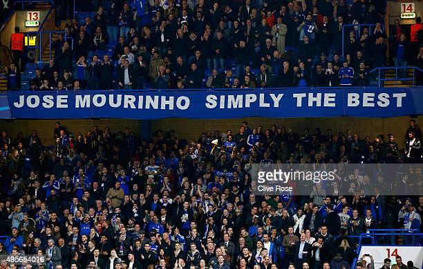 Chelsea fans show their support for their manager during the UEFA Champions League Group G match between Chelsea FC and FC Dynamo Kyiv at Stamford...