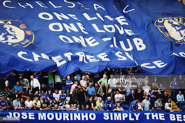 Chelsea fans show their support prior to the Barclays Premier League match between Chelsea and Leicester City at Stamford Bridge on August 23 2014 in...
