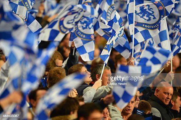 Chelsea fans wave flags during the UEFA Champions League Quarter Final second leg match between Chelsea and Paris SaintGermain FC at Stamford Bridge...