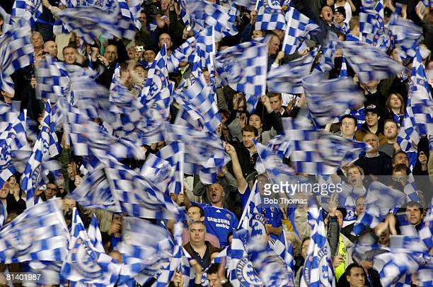Chelsea fans waving their flags prior to the start of the UEFA Champions League Final between Manchester United and Chelsea held at the Luzhniki...