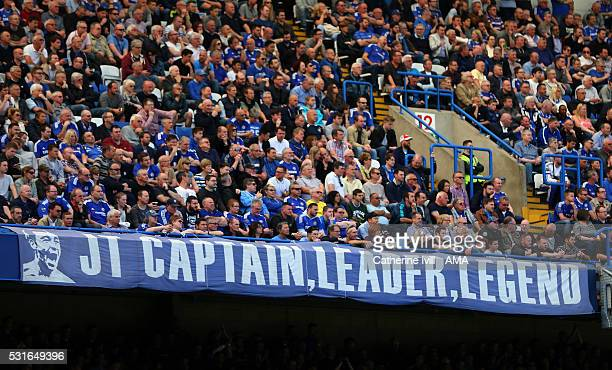 Chelsea fans with a banner John Terry of Chelsea captain leader legend during the Barclays Premier League match between Chelsea and Leicester City at...