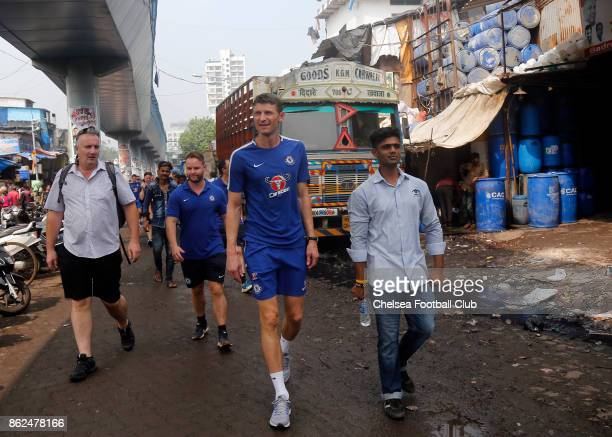 Chelsea FC Ambassador Tore Andre Flo at Dharavi Slums in Mumbai on October 17 2017 in Mumbai India