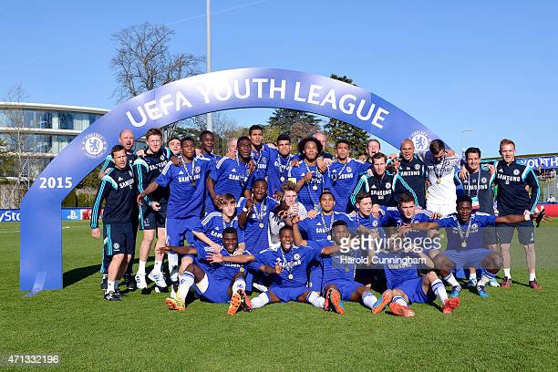 Chelsea FC celebrate their victory over FC Shakhtar Donetsk following the UEFA Youth League final match between FC Shakhtar Donetsk and Chelsea FC at...