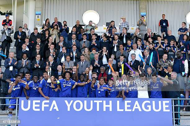 Chelsea FC celebrate their victory with the Lennart Johansson trophy following the UEFA Youth League final match between FC Shakhtar Donetsk and...