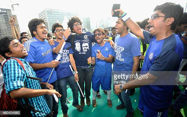 Chelsea FC fans sing during the Barclays Premier League 'Live' event on December 13 2014 in Mumbai India
