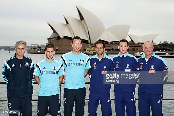Chelsea FC Manager Jose Mourinho Eden Hazard and captain John Terry of Chelsea FC next to captain Alex Brosque and Shane Smeltz of Sydney FC and...