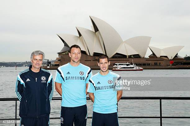 Chelsea FC Manager Jose Mourinho Eden Hazard and captain John Terry of Chelsea FC pose during a photo opportunity after a press conference at the...