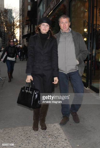 Chelsea FC owner and billionaire Roman Abramovich and Daria Dasha Zhukova leave Nellos restaurant December 6 2008 in New York City