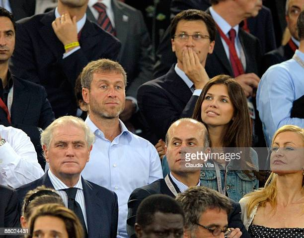 Chelsea FC owner Roman Abramovich and girlfriend Daria Zhukova look on during the UEFA Champions League Final match between Barcelona and Manchester...