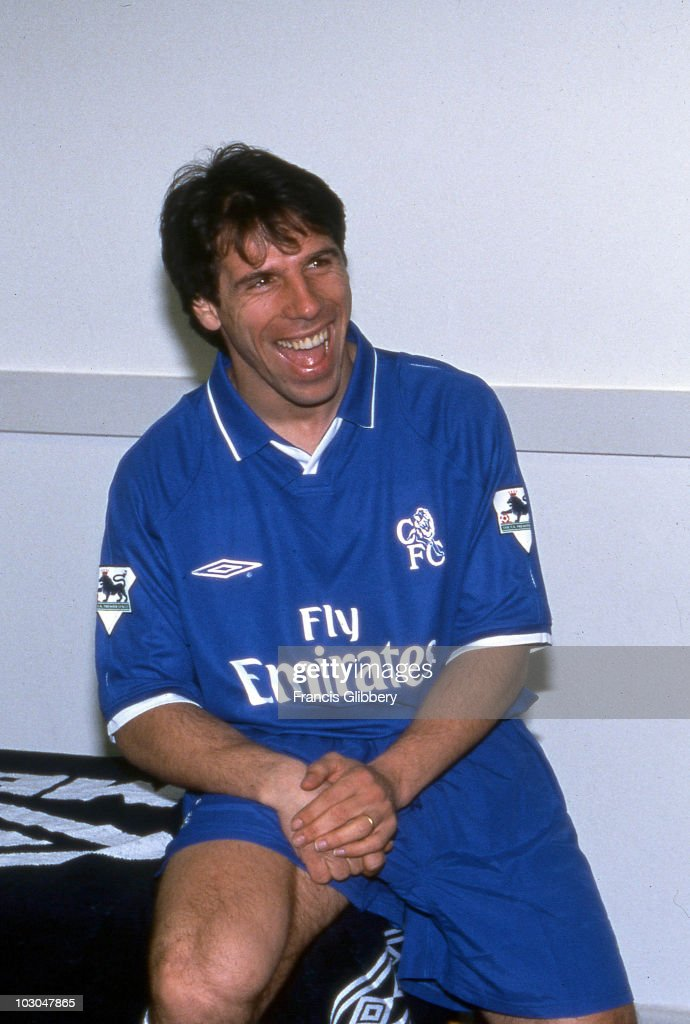 Chelsea FC player Gianfranco Zola in the dressing room area during the 2002/03 season at Stamford Bridge, in London, England.