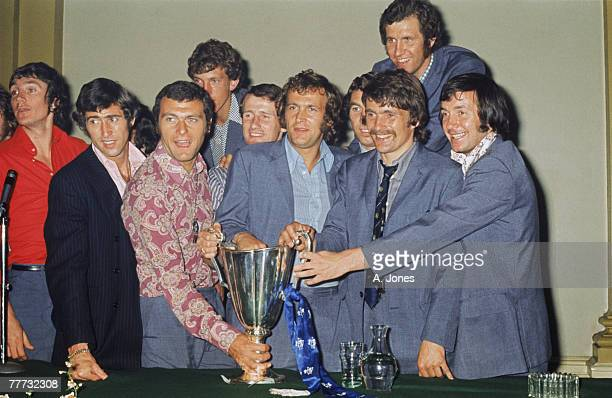 Chelsea FC players with the trophy after their 21 win against Real Madrid in the 197071 UEFA Cup Winners' Cup Final replay in Athens Greece 21st May...