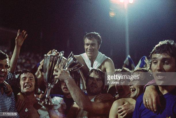 Chelsea FC players with the trophy after their 21 win against Real Madrid in the 197071 UEFA Cup Winners' Cup Final replay at Karaiskakis Stadium...