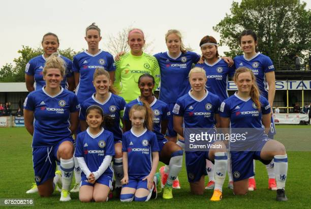 Chelsea FC starting 11 before the FA WSL 1 match between Chelsea Ladies and Yeovil Town Ladies at Wheatsheaf Park on April 30 2017 in Staines England
