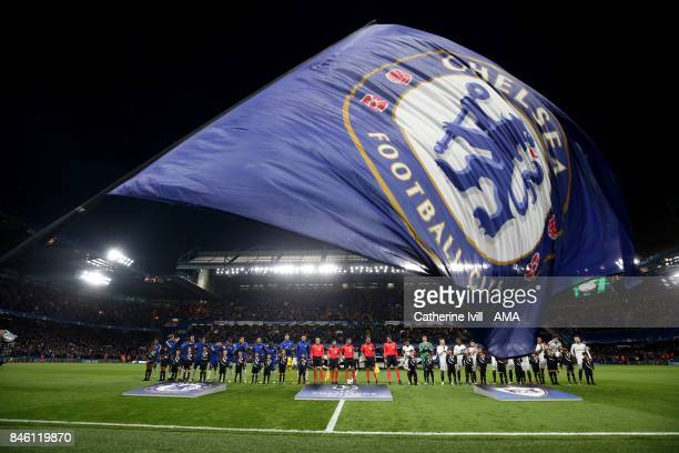 Chelsea flag flies as the teams line up before the UEFA Champions League group C match between Chelsea FC and Qarabag FK at Stamford Bridge on...