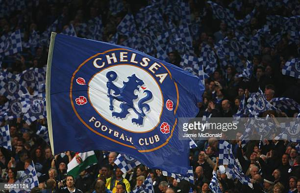 Chelsea flag is waved during the UEFA Champions League Quarter Final Second Leg match between Chelsea and Liverpool at Stamford Bridge on April 14...
