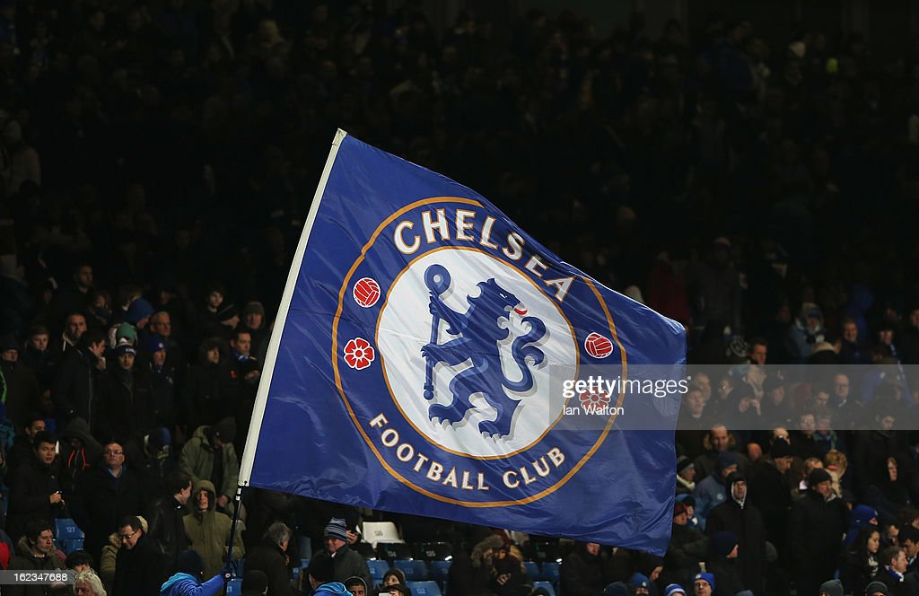 A Chelsea flag is waved during the UEFA Europa League Round of 32 second leg match between Chelsea and Sparta Praha at Stamford Bridge on February 21, 2013 in London, England.
