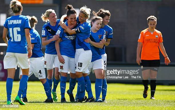 Chelsea Flanagan of Sheffield is congratulated after scoring their third goal during the FA WSL 2 match between London Bees and Sheffield FC Ladies...