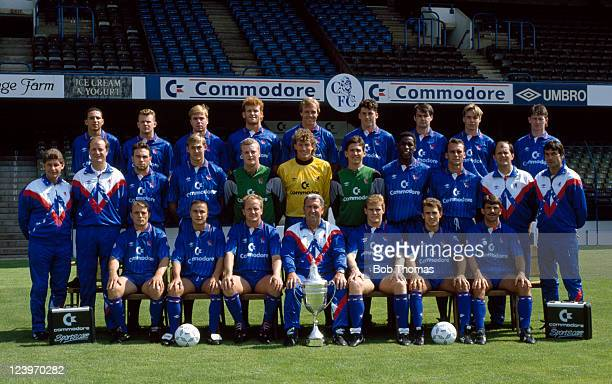 Chelsea Football Club 1st team squad at Stamford Bridge August 1990 Back row Damian Matthew Graham Stuart Gareth Hall Erland Johnsen Kerry Dixon Andy...