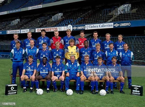 Chelsea Football Club 1st team squad at Stamford Bridge in London August 1989 Back row Mike Hazard Gareth Hall Joe McLaughlin Roger Freestone David...