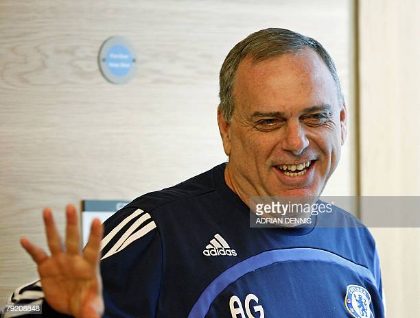 Chelsea football club manager Avram Grant bids farewell to the press after introducing his latest signing Branislav Ivanovic at the club's training...