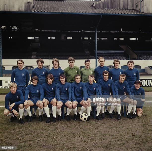 Chelsea Football Club squad players posed together at Stamford Bridge stadium in London on 20th March 1970 prior to their FA Cup final match with...