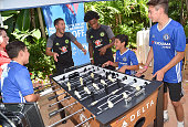 Chelsea Football Club's Eden Hazard and Willian and Children's Hospital Los Angeles patients Christopher Escobar Alex Idolor and Jacob Torres join...