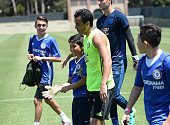 Chelsea Football Club's Pedro and Children's Hospital Los Angeles patients Jacob Torres Alex Idolor and Christopher Escobar join Delta Air Lines and...