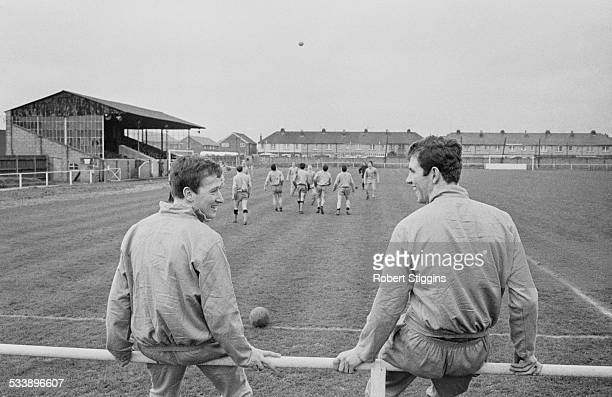 Chelsea footballers Paul McMillan and Peter Osgood take a break during a training session at the Culver Road football ground in Lancing West Sussex...