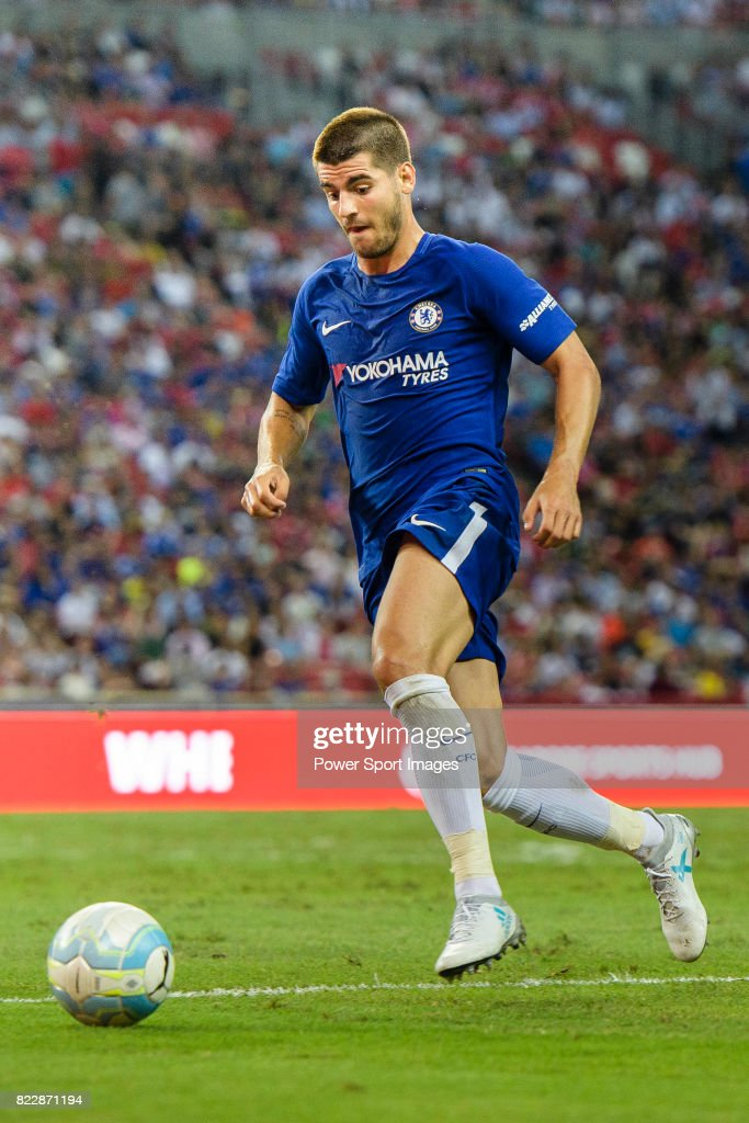 Chelsea Forward Alvaro Morata in action during the International Champions Cup match between Chelsea FC and FC Bayern Munich at National Stadium on July 25, 2017 in Singapore.