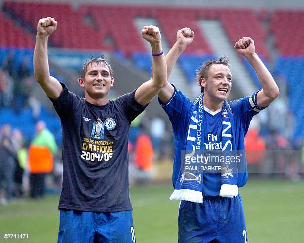 Chelsea goal scorer Frank Lampard and captain John Terry salute the Chelsea fans after their 20 victory against Bolton giving them the Premiership...