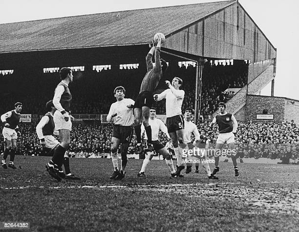 Chelsea goalkeeper Peter Bonetti goes high to collect the ball during an attack by Brighton Hove Albion FC during an FA Cup 4th round match at...